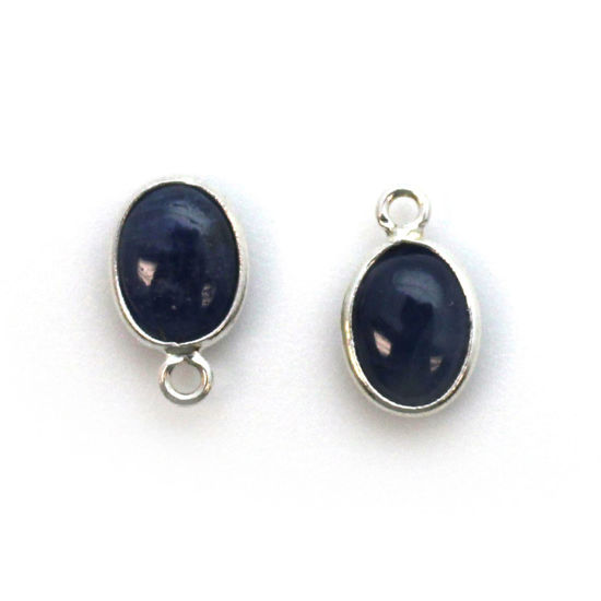 Bezel Charm Pendant - Silver Charm - Natural Blue Sapphire-Tiny Oval Shape
