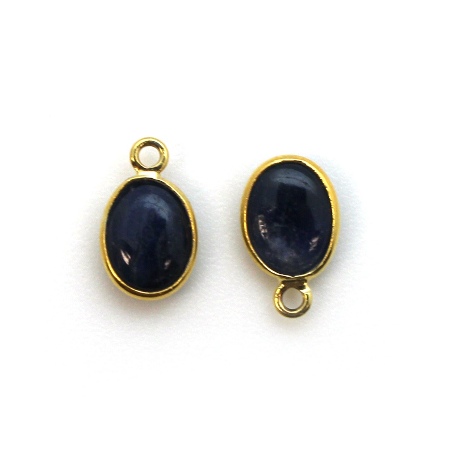 Bezel Charm Pendant - Gold Plated Silver Charm - Natural Blue Sapphire-Tiny Oval Shape