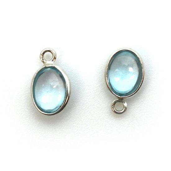 Bezel Charm Pendant - Silver Charm - Natural Sky Blue Topaz -Tiny Oval Shape