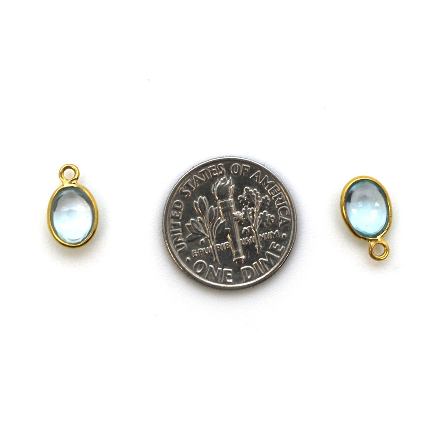 Bezel Charm Pendant - Gold Plated Silver Charm - Natural Sky Blue Topaz -Tiny Oval Shape