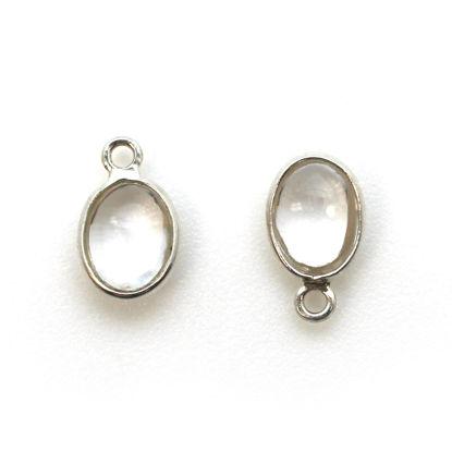 Bezel Charm Pendant - Silver Charm - Natural Crystal - Tiny Oval Shape