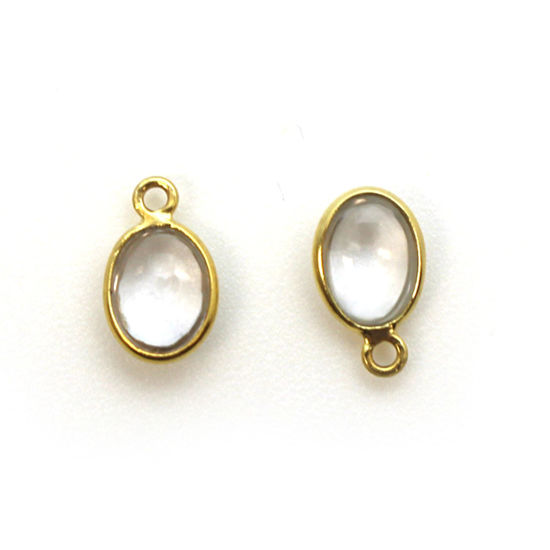 Bezel Charm Pendant - Gold Plated Silver Charm - Natural Crystal - Tiny Oval Shape