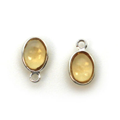 Bezel Charm Pendant - Silver Charm - Natural Citrine - Tiny Oval Shape