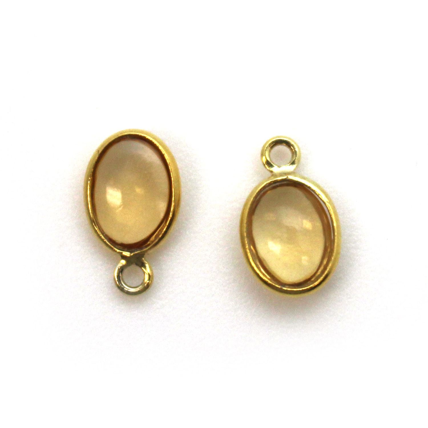 Bezel Charm Pendant - Gold Plated Silver Charm - Natural Citrine - Tiny Oval Shape