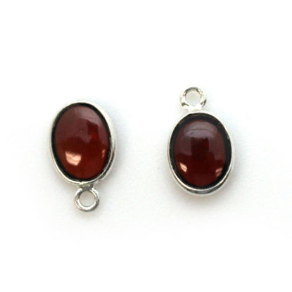Bezel Charm Pendant - Silver Charm - Natural Garnet -Tiny Oval Shape