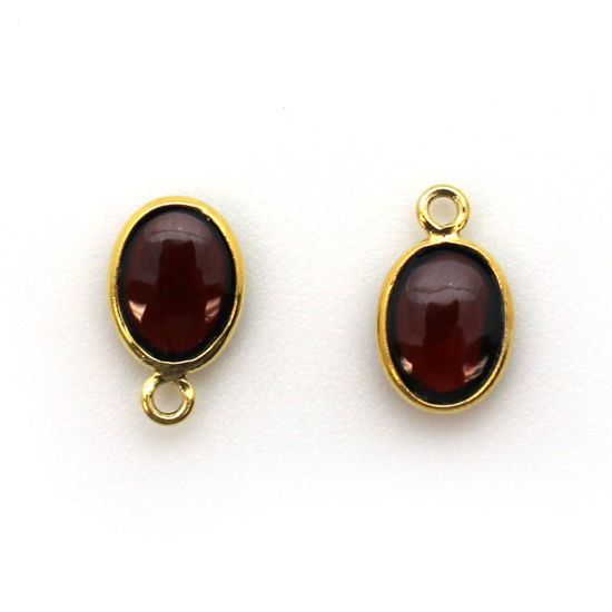 Bezel Charm Pendant - Gold Plated Silver Charm - Natural Garnet -Tiny Oval Shape