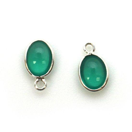 Bezel Charm Pendant - Silver Charm - Natural Green Onyx-Tiny Oval Shape