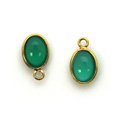 Bezel Charm Pendant - Gold Plated Silver Charm - Natural Green Onyx-Tiny Oval Shape