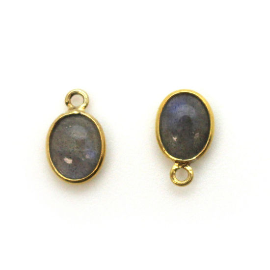 Bezel Charm Pendant - Gold Plated Silver Charm - Natural Labradorite -Tiny Oval Shape