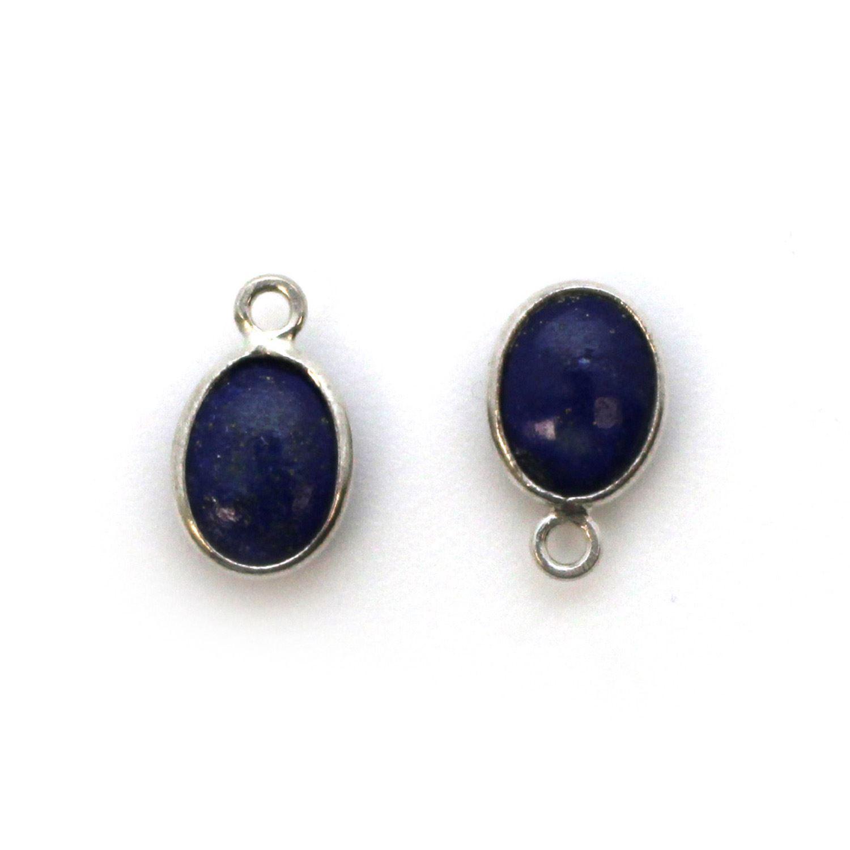 Bezel Charm Pendant - Silver Charm - Natural Lapis Lazuli - Tiny Oval Shape