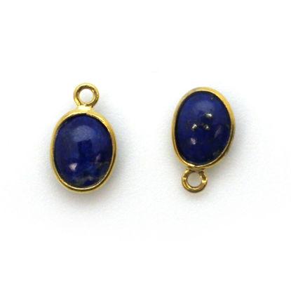 Bezel Charm Pendant - Gold Plated Silver Charm - Natural Lapis Lazuli - Tiny Oval Shape