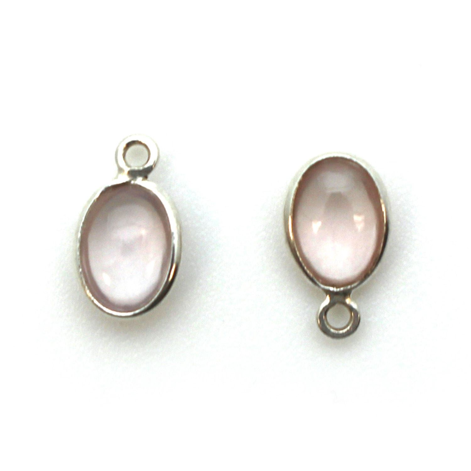 Bezel Charm Pendant - Silver Charm - Natural Rose Quartz -Tiny Oval Shape
