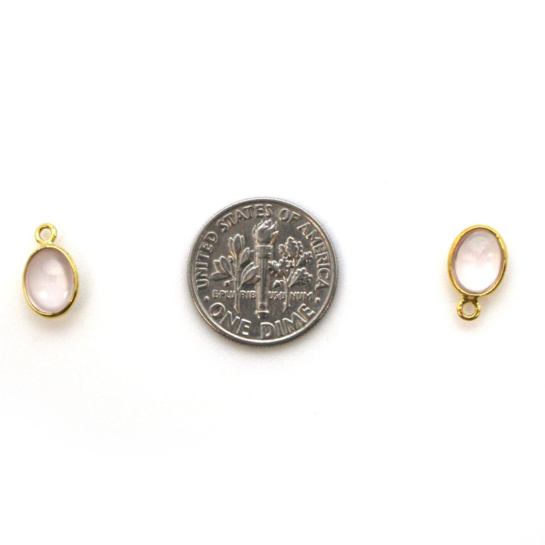 Bezel Charm Pendant - Gold Plated Silver Charm - Natural Rose Quartz -Tiny Oval Shape