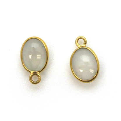 Bezel Charm Pendant - Gold Plated Silver Charm - Natural Moonstone -Tiny Oval Shape