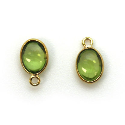 Bezel Charm Pendant - Gold Plated Silver Charm - Natural Peridot - Tiny Oval Shape