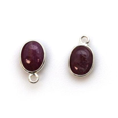 Bezel Charm Pendant - Silver Charm - Natural Ruby -Tiny Oval Shape