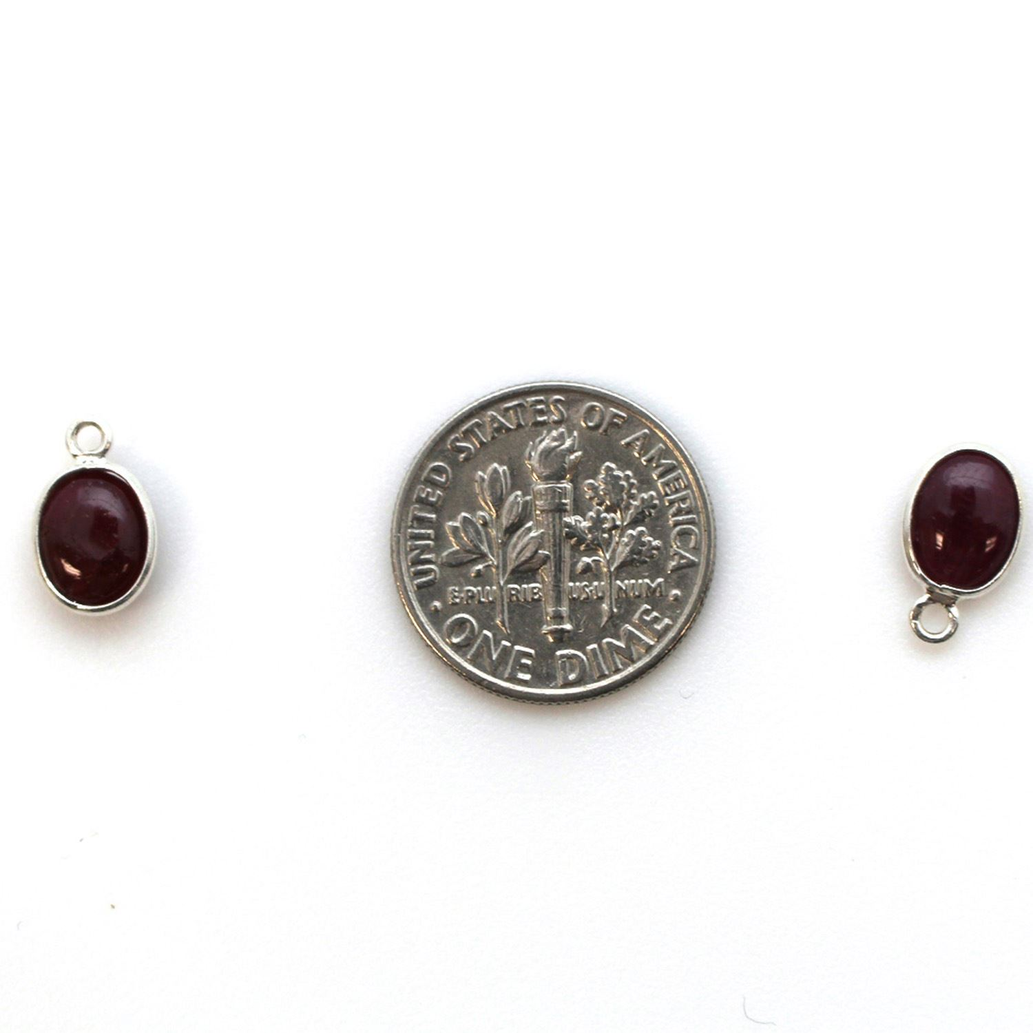 Bezel Charm Pendant - Silver Charm - Natural Ruby -Tiny Oval Shape