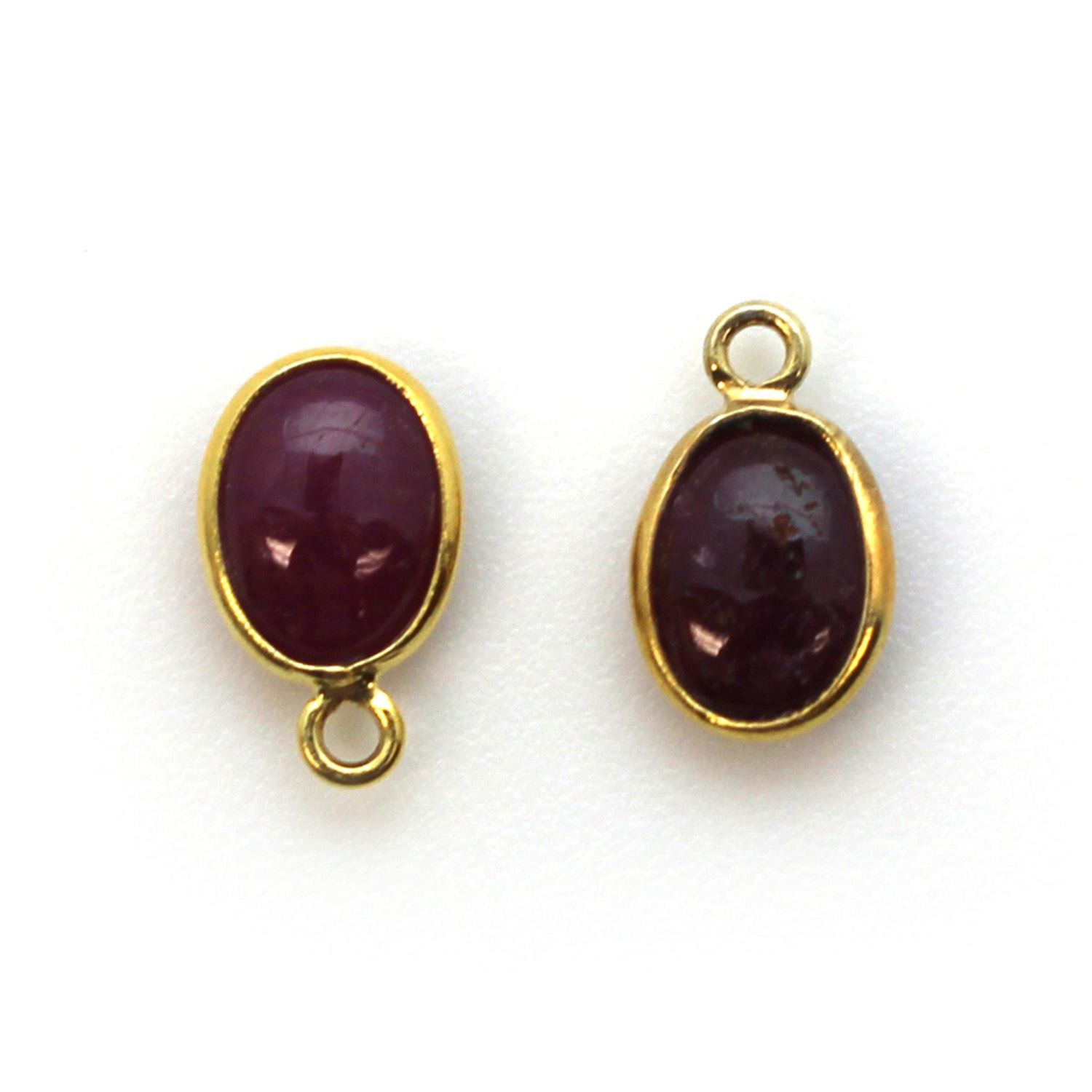 Bezel Charm Pendant - Gold Plated Silver Charm - Natural Ruby -Tiny Oval Shape