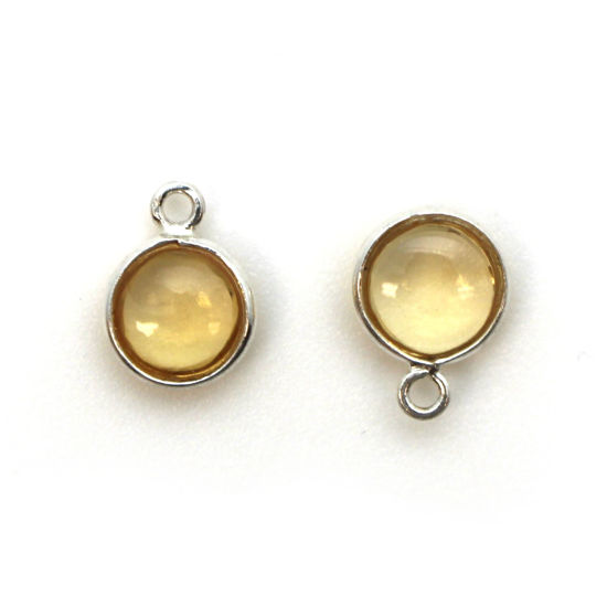 Bezel Charm Pendant - Sterling Silver Charm - Natural Citrine -Tiny Round Shape