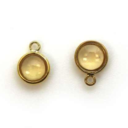Bezel Charm Pendant - Gold Plated Sterling Silver Charm - Natural Citrine -Tiny Round Shape