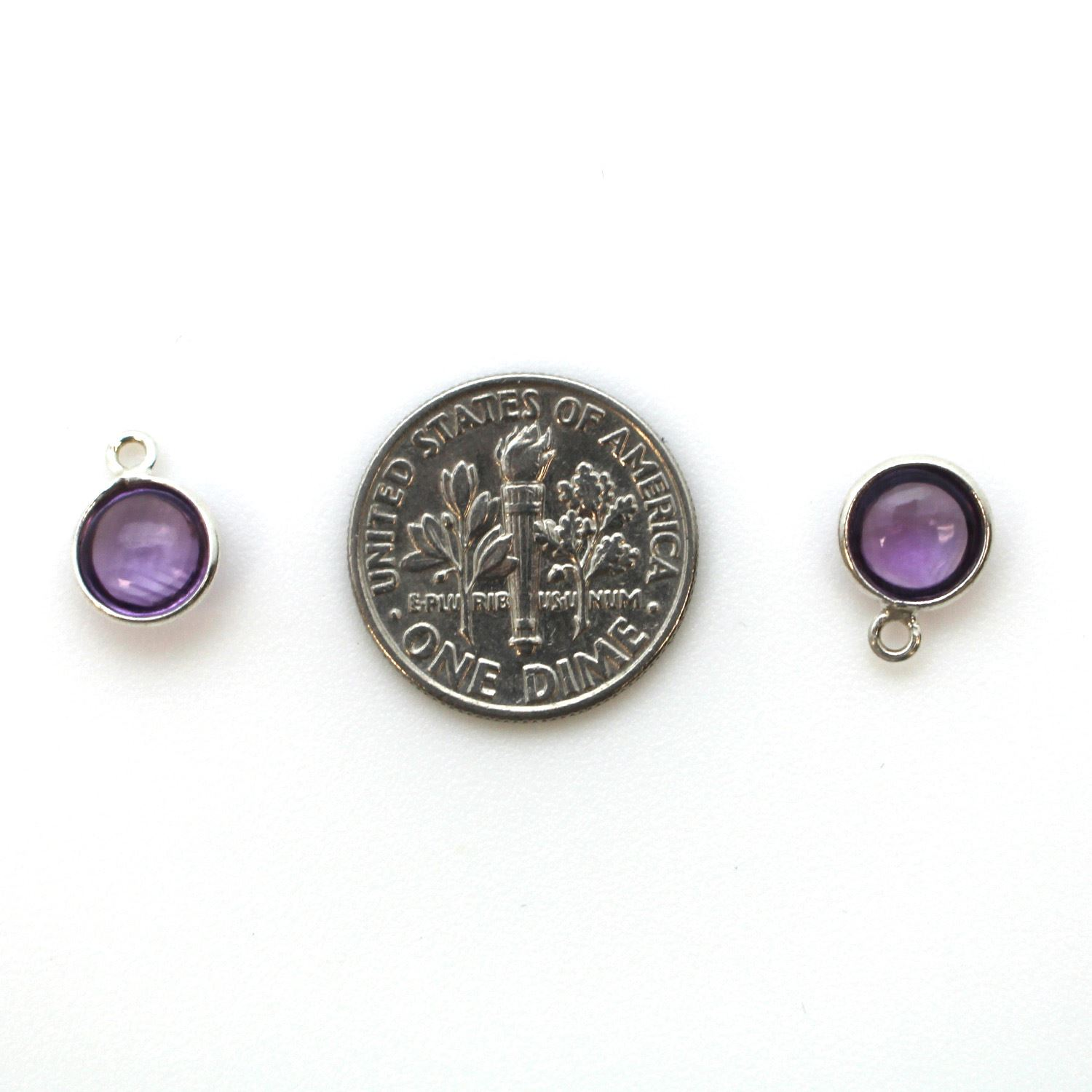 Bezel Charm Pendant - Sterling Silver Charm - Natural Amethyst -Tiny Round Shape