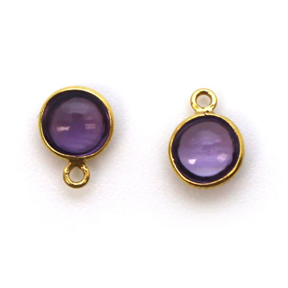 Bezel Charm Pendant - Gold Plated Sterling Silver Charm - Natural Amethyst -Tiny Round Shape