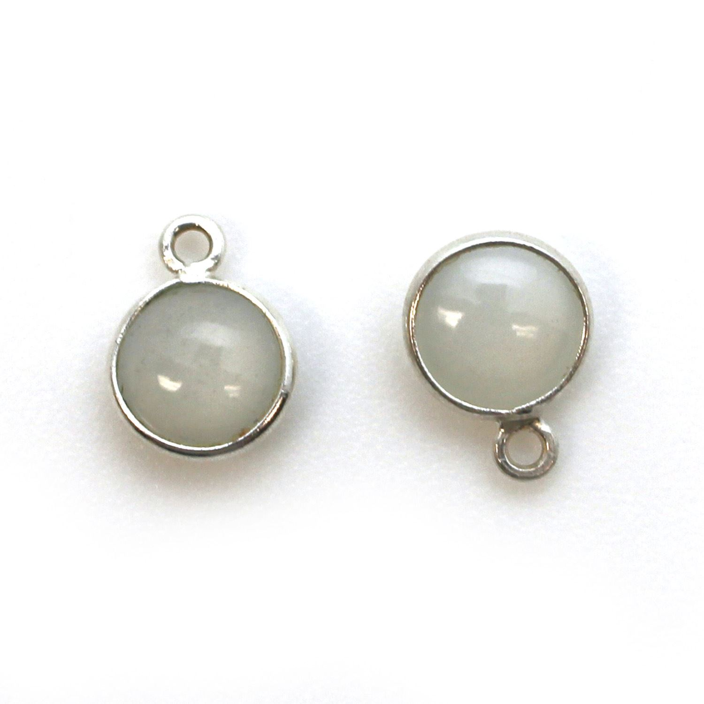 Bezel Charm Pendant - Sterling Silver Charm - Natural Moonstone -Tiny Round Shape