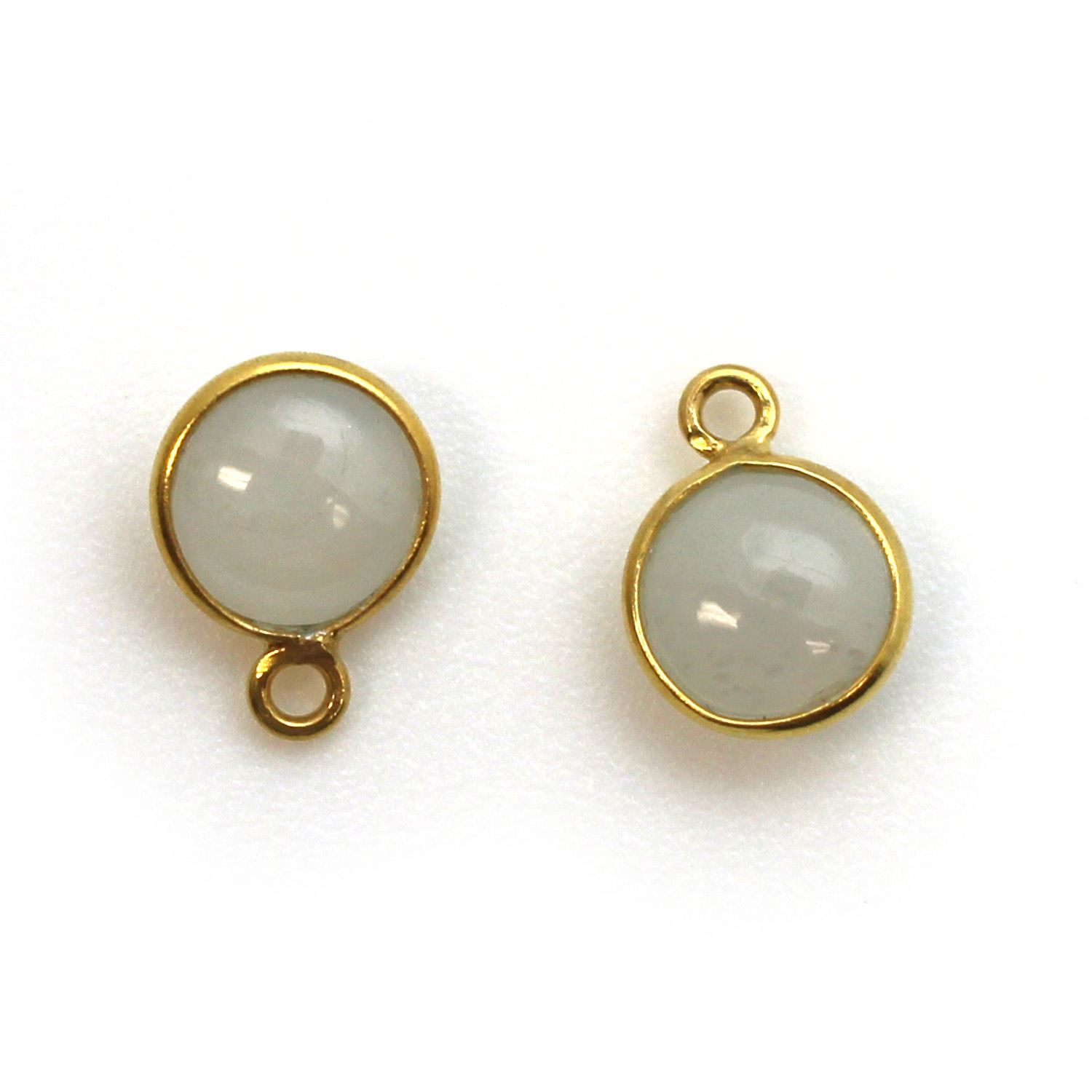 Bezel Charm Pendant - Gold Plated Sterling Silver Charm - Natural Moonstone -Tiny Round Shape
