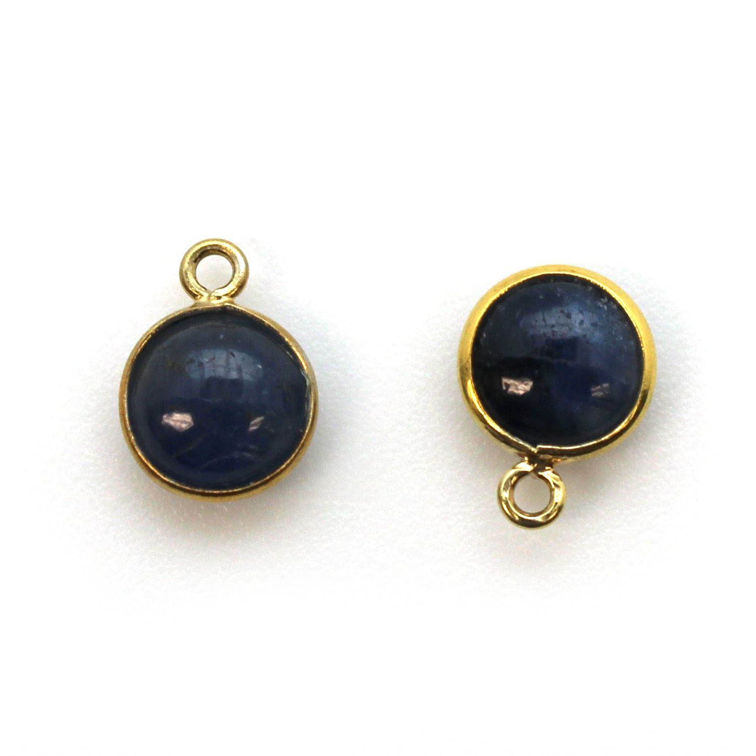 Bezel Charm Pendant - Gold Plated Sterling Silver Charm - Natural Blue Sapphire -Tiny Round Shape
