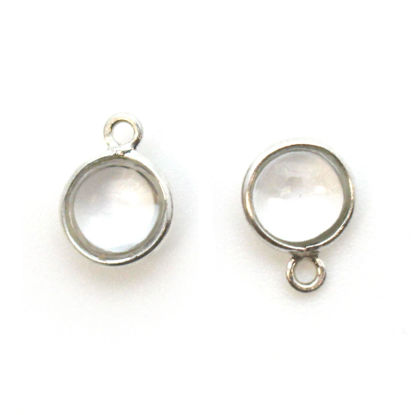 Bezel Charm Pendant - Sterling Silver Charm - Natural Crystal -Tiny Round Shape