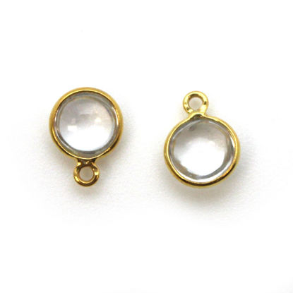 Bezel Charm Pendant - Gold Plated Sterling Silver Charm - Natural Crystal -Tiny Round Shape