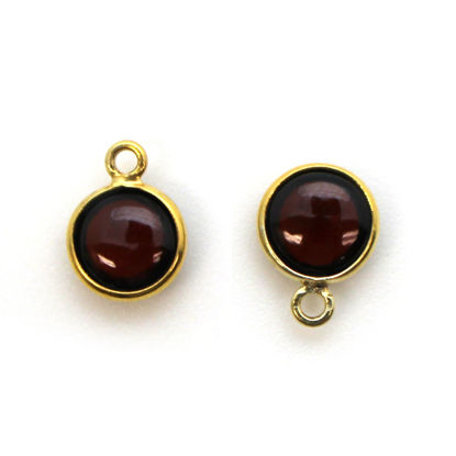 Bezel Charm Pendant - Gold Plated Sterling Silver Charm - Natural Garnet -Tiny Round Shape