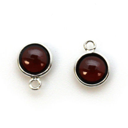 Bezel Charm Pendant - Sterling Silver Charm - Natural Garnet -Tiny Round Shape
