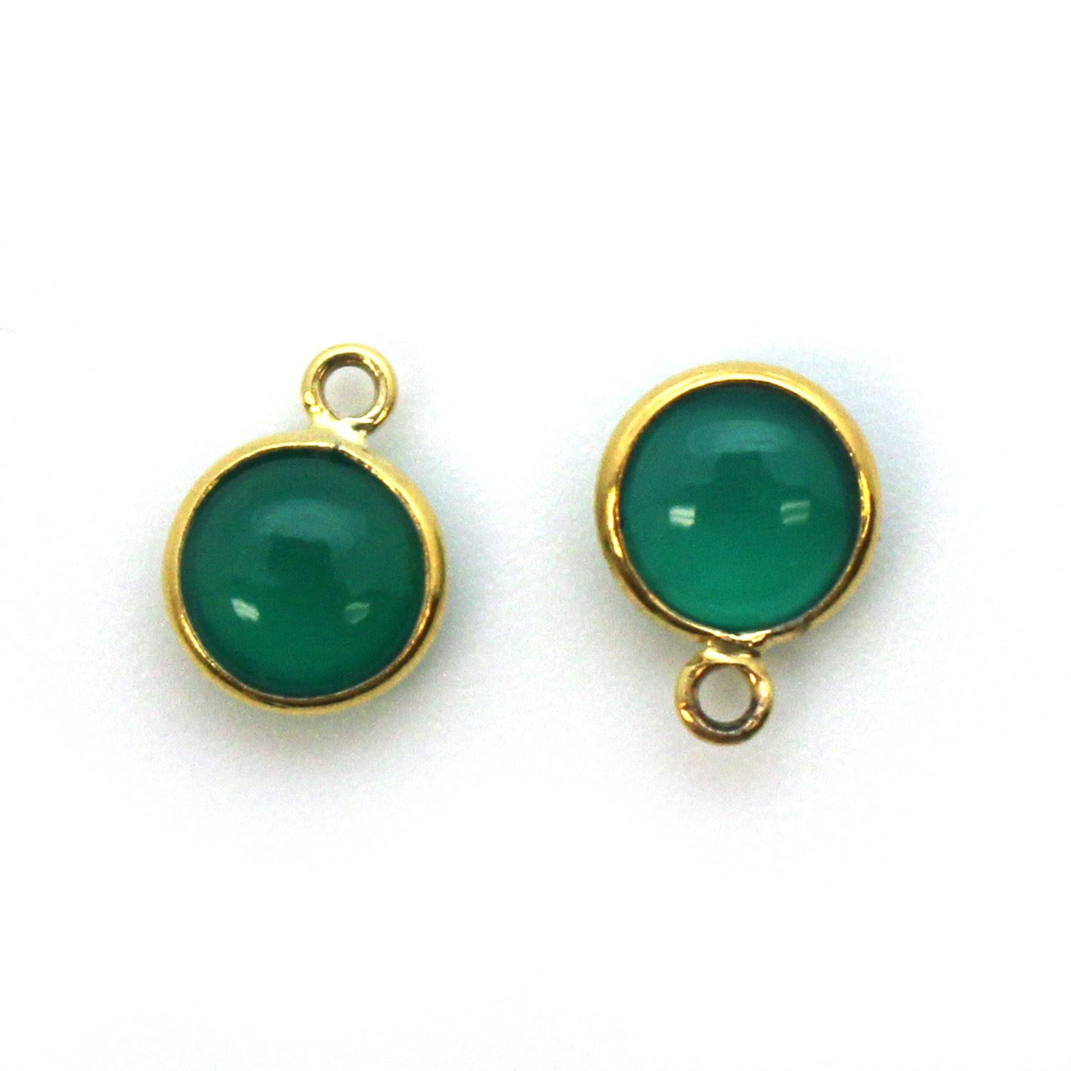 Bezel Charm Pendant - Gold Plated Sterling Silver Charm - Natural Green Onyx - Tiny Round Shape