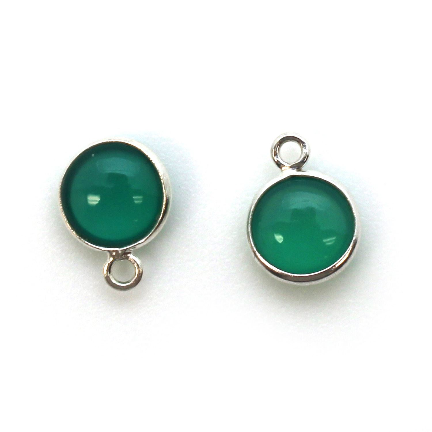 Bezel Charm Pendant - Sterling Silver Charm - Natural Green Onyx - Tiny Round Shape