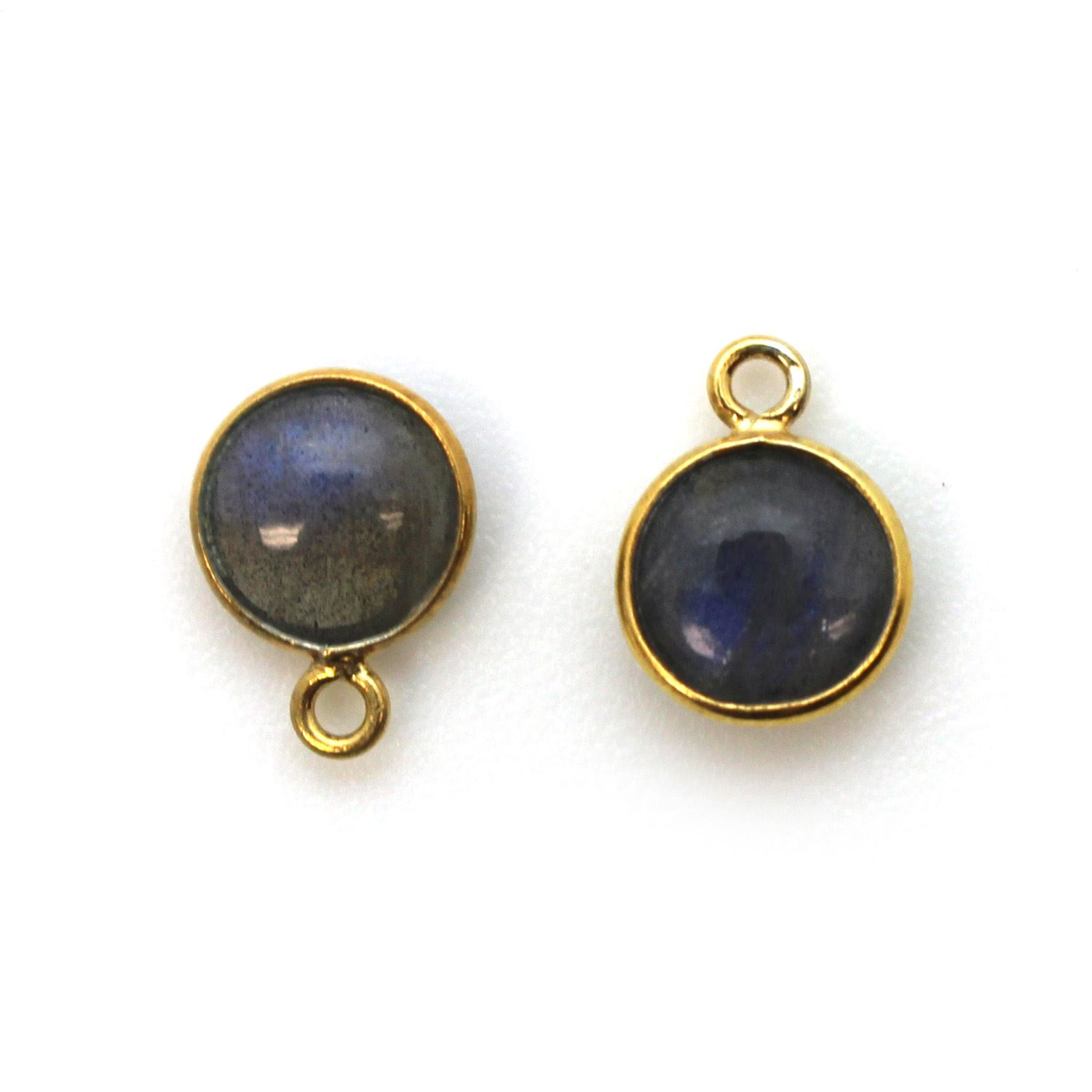 Bezel Charm Pendant - Gold Plated Sterling Silver Charm - Natural Labradorite - Tiny Round Shape