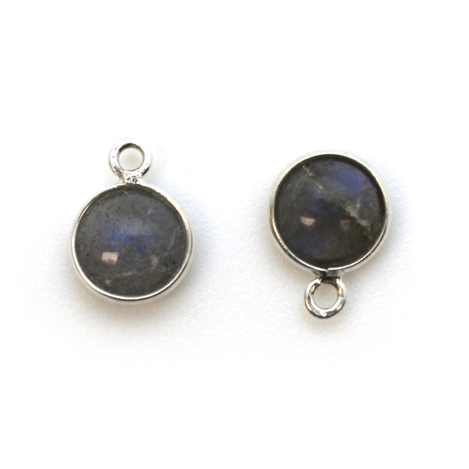 Bezel Charm Pendant - Sterling Silver Charm - Natural Labradorite - Tiny Round Shape
