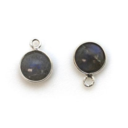 Bezel Charm Pendant - Sterling Silver Charm - Natural Labradorite - Tiny Round Shape