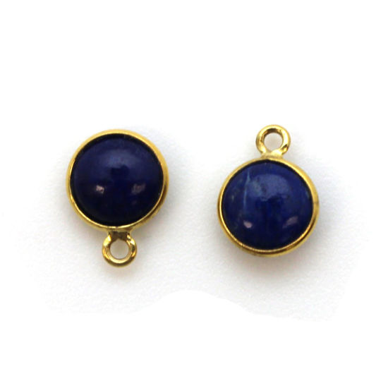 Bezel Charm Pendant - Gold Plated Sterling Silver Charm - Natural Lapis Lazuli - Tiny Round Shape