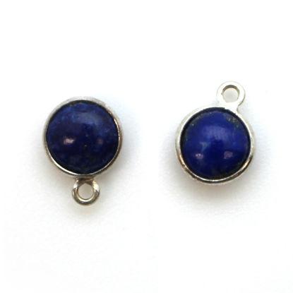 Bezel Charm Pendant - Sterling Silver Charm - Natural Lapis Lazuli - Tiny Round Shape