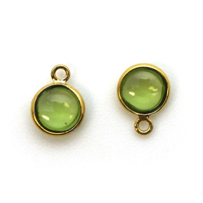Bezel Charm Pendant - Gold Plated Sterling Silver Charm - Natural Peridot - Tiny Round Shape