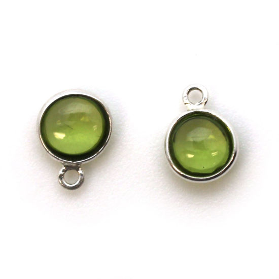 Bezel Charm Pendant - Sterling Silver Charm - Natural Peridot - Tiny Round Shape