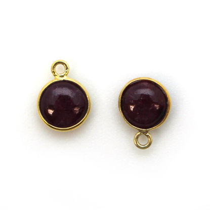 Bezel Charm Pendant - Gold Plated Sterling Silver Charm - Natural Ruby -Tiny Round Shape