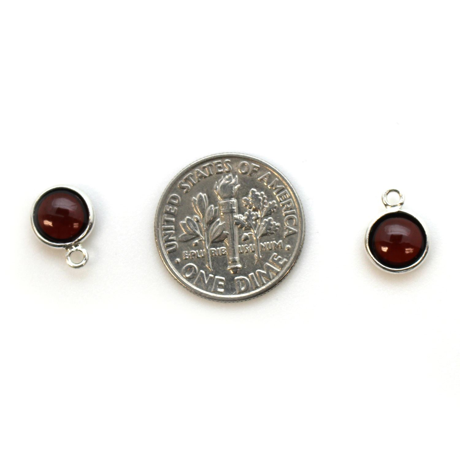 Bezel Charm Pendant - Sterling Silver Charm - Natural Ruby -Tiny Round Shape