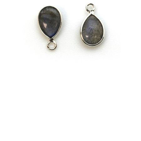 Silver Tiny Teardrop Natural Gemstone Pendants