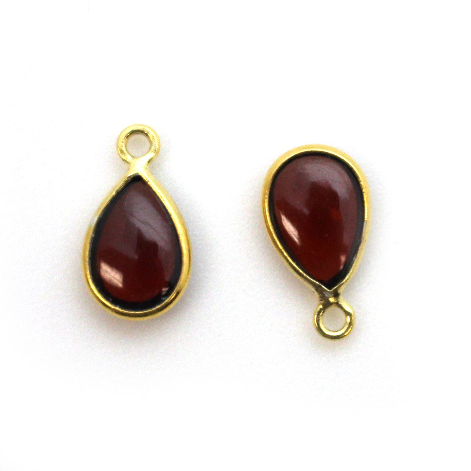 Bezel Charm Pendant - Gold Plated Sterling Silver Charm - Natural Garnet - Tiny Teardrop Shape