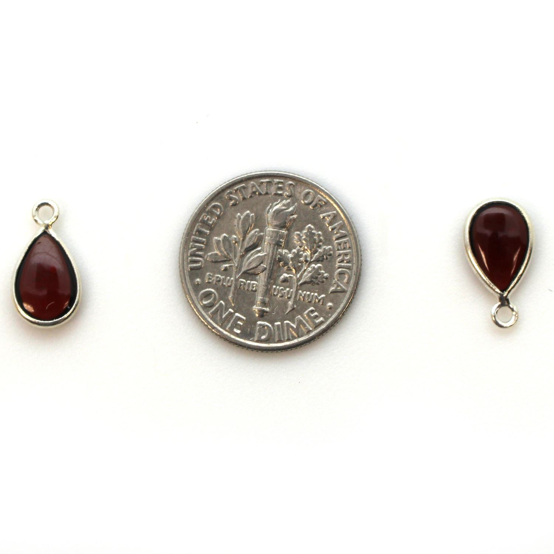 Bezel Charm Pendant - Sterling Silver Charm - Natural Garnet - Tiny Teardrop Shape