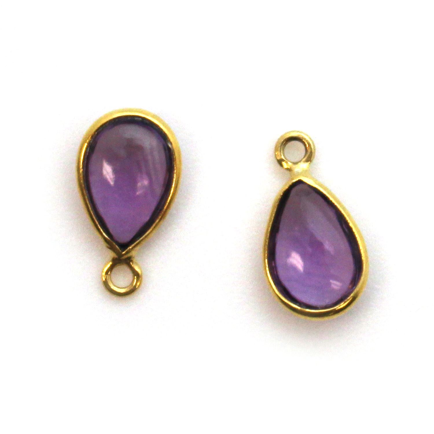 Bezel Charm Pendant - Gold Plated Sterling Silver Charm - Natural Amethyst - Tiny Teardrop Shape