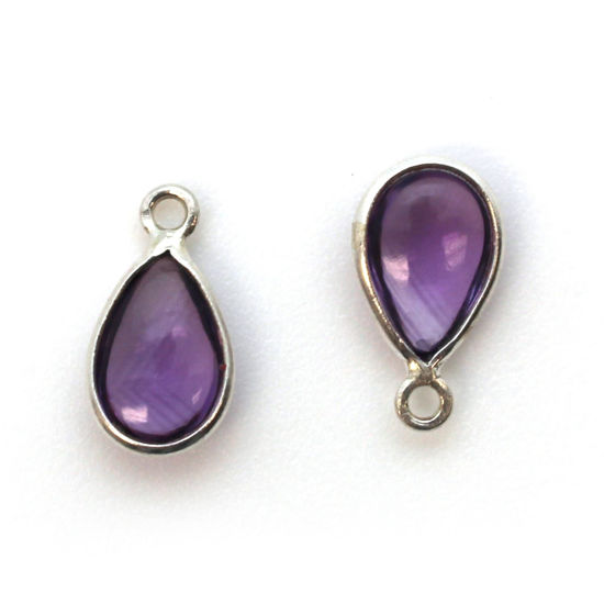 Bezel Charm Pendant - Sterling Silver Charm - Natural Amethyst - Tiny Teardrop Shape