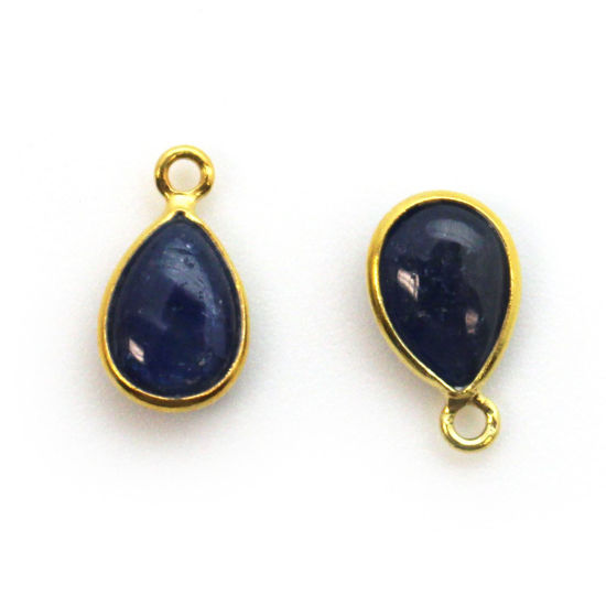 Bezel Charm Pendant - Gold Plated Sterling Silver Charm - Natural Blue Sapphire - Tiny Teardrop Shape